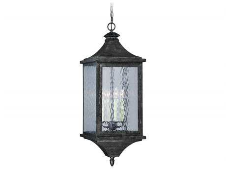 Vaxcel Cavanaugh Athenian Bronze Four-Light 12'' Wide Outdoor Hanging Light with Ripple Glass Shade