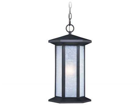 Vaxcel Halsted Textured Black 10'' Wide Outdoor Hanging Light with White Linen Glass Shade