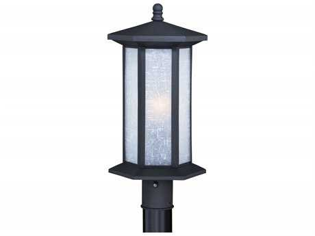 Vaxcel Halsted Textured Black 10'' Wide Outdoor Post Light with White Linen Glass Shade