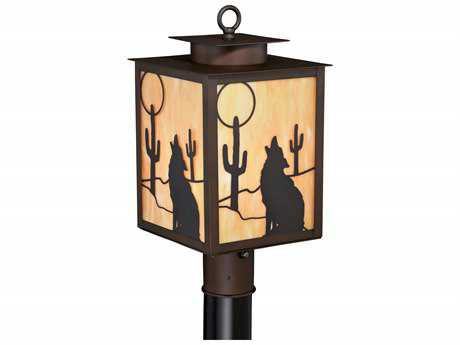 Vaxcel Calexico Burnished Bronze 8.75'' Wide Outdoor Post Light with Honey Tiffany Glass Shade