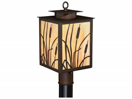 Vaxcel Bulrush Burnished Bronze 8.75'' Wide Outdoor Post Light with Honey Tiffany Glass Shade