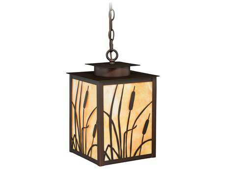 Vaxcel Bulrush Burnished Bronze 8.75'' Wide Outdoor Hanging Light with Honey Tiffany Glass Shade