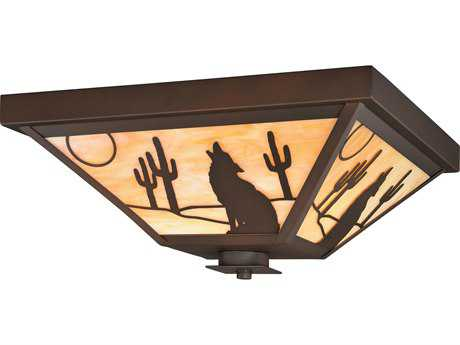 Vaxcel Calexico Burnished Bronze Three-Light 14'' Wide Outdoor Ceiling Light with Honey Tiffany Glass Shade