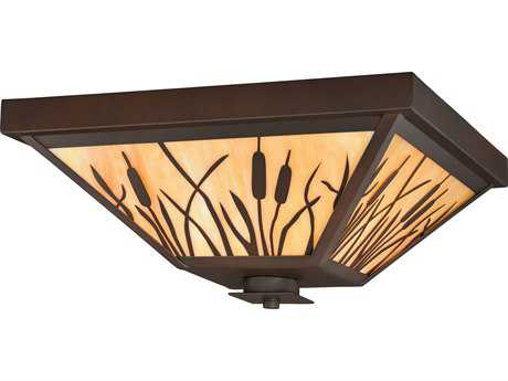 Vaxcel Bulrush Burnished Bronze Three-Light 14'' Wide Outdoor Ceiling Light with Honey Tiffany Glass Shade