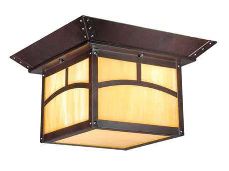 Vaxcel Mission Ii Espresso Bronze & Honey Opal Glass Two-Light 11 Outdoor Ceiling Light