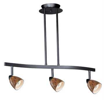 Vaxcel Dark Bronze & Lava Swirl Glass Three-Light Island Light