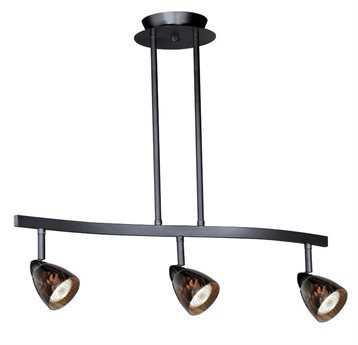 Vaxcel Dark Bronze & Dark Umbra Glass Three-Light Island Light