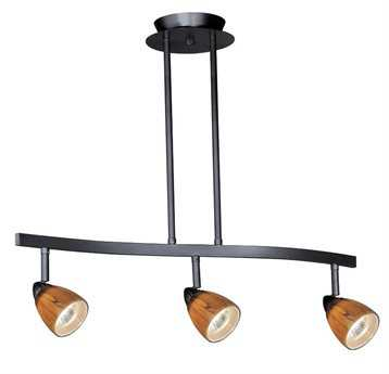 Vaxcel Dark Bronze & Honey Ripple Glass Three-Light Island Light