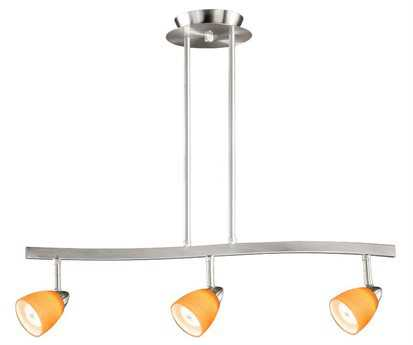 Vaxcel Satin Nickel & Amber Wiped Glass Three-Light Island Light