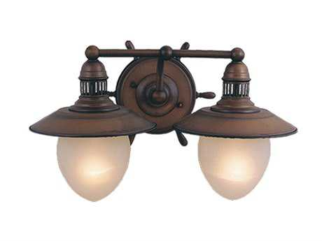 Vaxcel Orleans Antique Red Copper Frosted Glass Two-Light Vanity Light