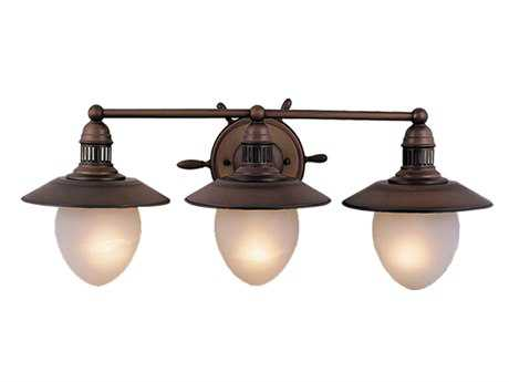 Vaxcel Orleans Antique Red Copper Frosted Glass Three-Light Vanity Light