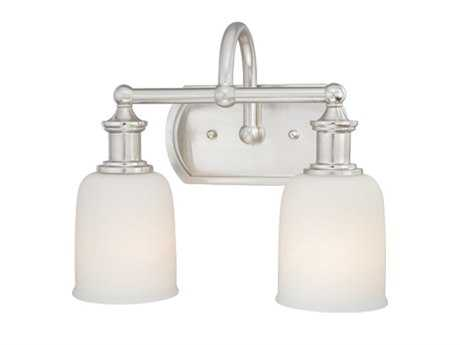 Vaxcel Elliot Polished Nickel & Frosted Opal Glass Two-Light Vanity Light