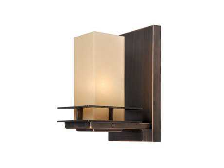Vaxcel Oak Park Sienna Bronze & Umber & Etched Glass Wall Sconce