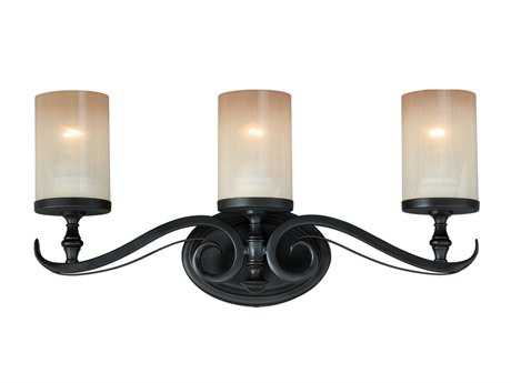 Vaxcel Elba New Bronze & Champagne Glass Three-Light Wall Sconce