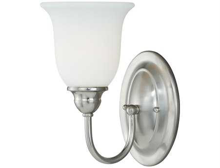 Vaxcel Concord Satin Nickel & Etched White Glass Vanity Light