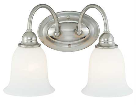 Vaxcel Concord Satin Nickel & Etched White Glass Two-Light Vanity Light
