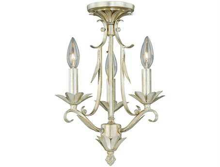 Vaxcel Austen Silver Leaf Three-Light Tri-Mount Semi-Flush Mount Light