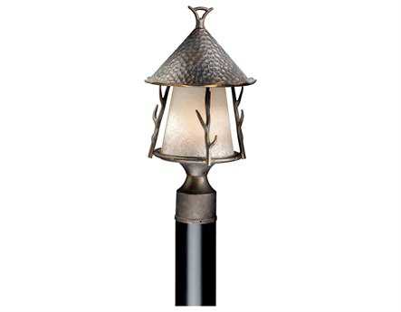 Vaxcel Woodland Autumn Patina & French Scavo Glass 9 Outdoor Post Mount Lantern