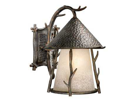 Vaxcel Woodland Autumn Patina & French Scavo Glass Three-Light 11 Outdoor Wall Light