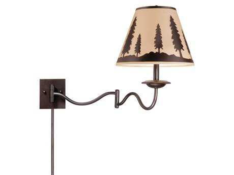 Vaxcel Yosemite Burnished Bronze & Wildlife Print 12 Swing Arm Wall Light