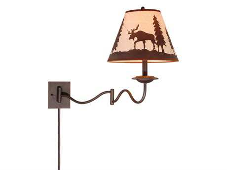 Vaxcel Yellowstone Burnished Bronze & Wildlife Print 12 Swing Arm Wall Light