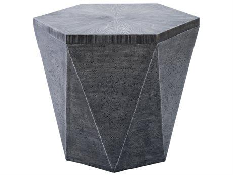 Veranda Classics Geo Aluminum Gray 25''W x 22''D Hexagon TerraFab Top End Table PatioLiving