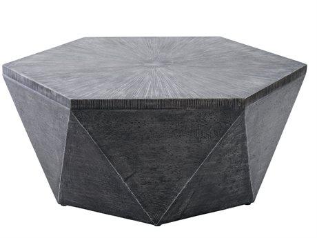 Veranda Classics Geo Aluminum Gray 42''W x 36''D Hexagon Coffee Table PatioLiving