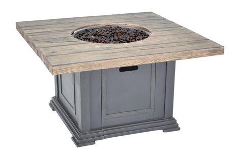 Veranda Classics Romance II Aluminum Walnut Bronze 42''Wide Square  TerraFab Top Fire Pit Table PatioLiving