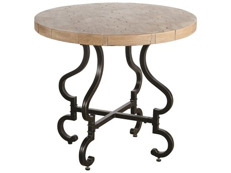 Veranda Classics Lisbon White Wash and Midnight Gold TerraFab 32'' Round Bistro Table