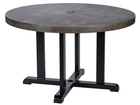 Veranda Classics Bella Cast Aluminum Glossy Black 48''Wide Round Smooth Concrete Terrafab Top Dining Table with Umbrella Hole PatioLiving