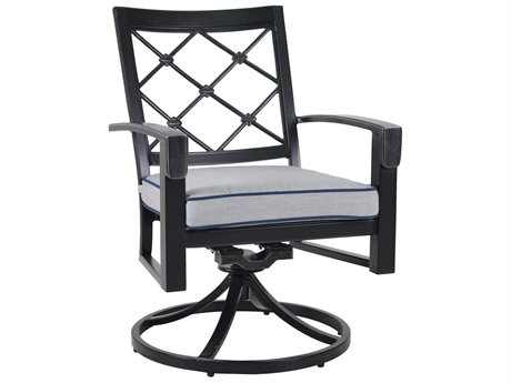 Veranda Classics Bella Glossy Black Cast Aluminum Swivel Rocking Dining Chair - Price Includes 2 Chairs