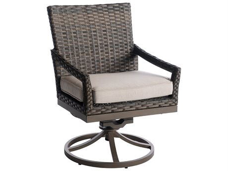 Veranda Classics Metropolitan Smoked Bronze Wicker Swivel Rocking Dining Chair - Price Includes 2 Chairs