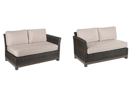 Veranda Classics Metropolitan Smoked Bronze Wicker Right and Left Arm Sectional Loveseats