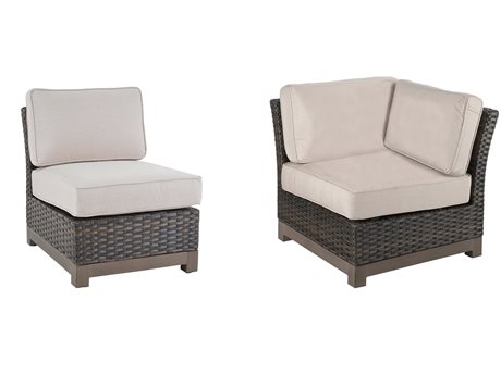 Veranda Classics Metropolitan Smoked Bronze Wicker Corner and Armless Unit