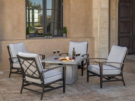 Veranda Classics Bella Glossy Black Cast Aluminum Fire Pit Lounge Set