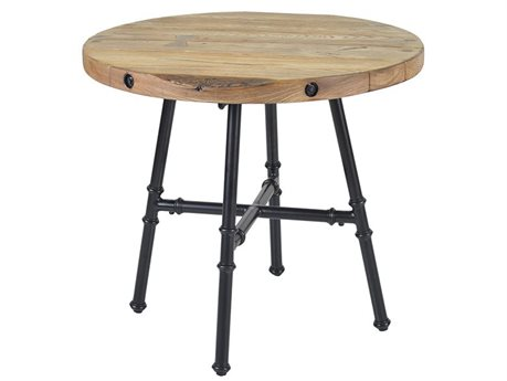 Veranda Classics Monterey Aluminum Black Walnut 32''Wide Round TerraFab Top Bistro Table PatioLiving
