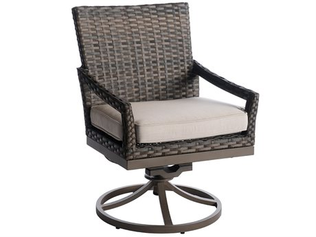 Veranda Classics Metropolitan Wicker Smoked Bronze Swivel Rocker Dining Arm Chair - Price Includes 2 Packs PatioLiving