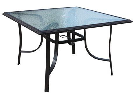 Veranda Classics Peninsula Aluminum Java 45''Wide Square Glass Top Dining Table PatioLiving
