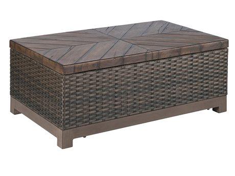 Veranda Classics Metropolitan Wicker Smoked Bronze 42''W x 26''D Rectangular TerraFab Top Coffee Table PatioLiving