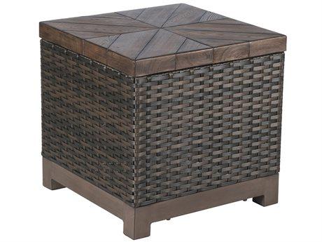 Veranda Classics Metropolitan Wicker Smoked Bronze 22'Wide Square Tazza TerraFab Top End Table