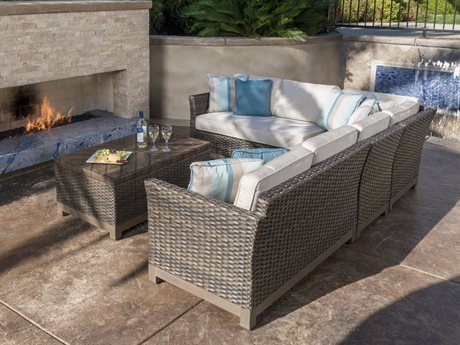 Veranda Classics Metropolitan Smoked Bronze Wicker Sectional Set