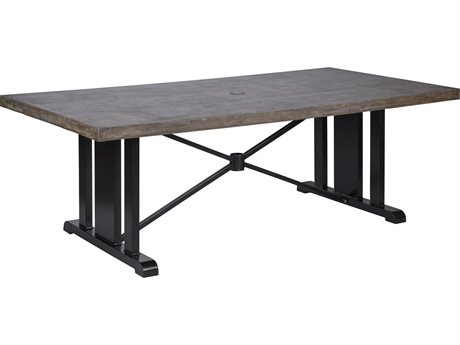 Veranda Classics Bella Mocha and Glossy Black 84''W x 44''D Rectangular TerraFab Dining Table
