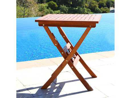 Vifah Eucalyptus Wood 24 Square Folding Bistro Table