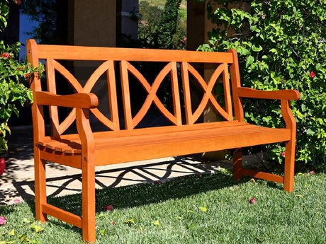 Vifah Eucalyptus Wood X-Back Design 61 x 23.5 Garden Bench
