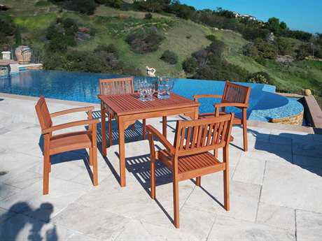 Vifah Eucalyptus Wood 5-Piece Outdoor Eucalyptus Dining Set