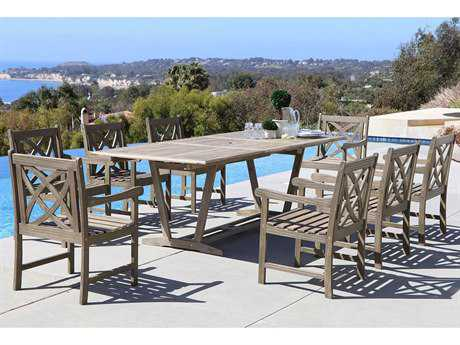 Vifah Renaissance Eco-friendly 9-piece Hand-scraped Hardwood Dining Set with Rectangle Extention Table and Arm Chairs