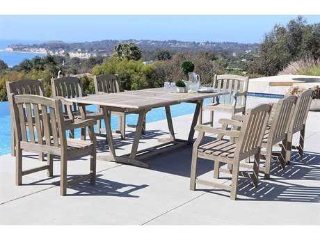 Vifah Renaissance Eco-friendly 9-piece Outdoor Hand-scraped Hardwood Dining Set with Rectangle Extension Table and Arm Chairs