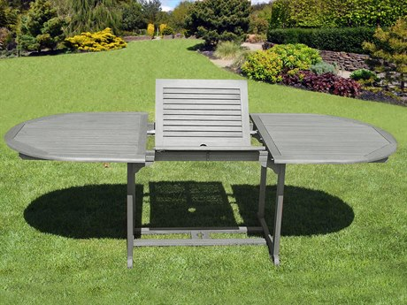 Vifah Renaissance Eco-friendly Hand-scraped Hardwood Oval Extention Garden Table