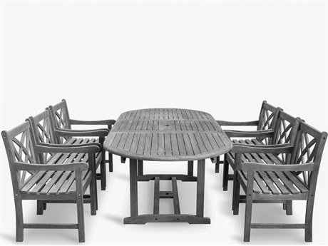 Vifah Renaissance Eco-friendly 7-piece Hand-scraped Hardwood Dining Set with Oval Extention Table and Arm Chairs