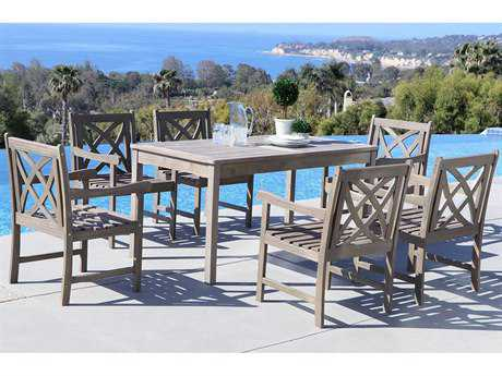 Vifah Renaissance Eco-friendly 7-piece Hand-scraped Hardwood Dining Set with Rectangle Table and Arm Chairs